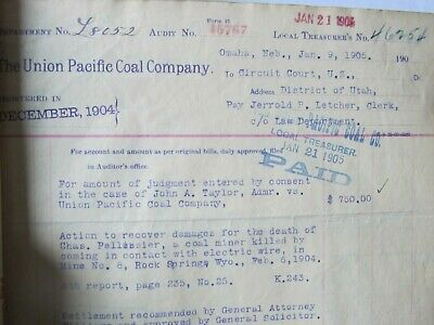 SUPER RARE Original 1905 COAL MINING LOG BOOK, UNION PACIFIC, Death, Blasting