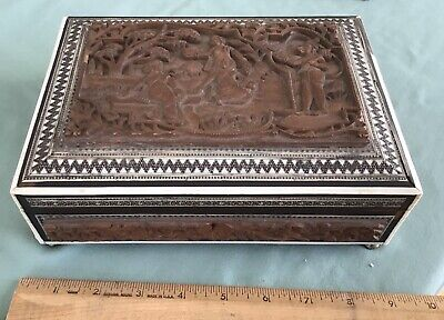 Vintage Chest, Carved-Mother of Pearl-Ebony-Shell inlaid Pattern With Key