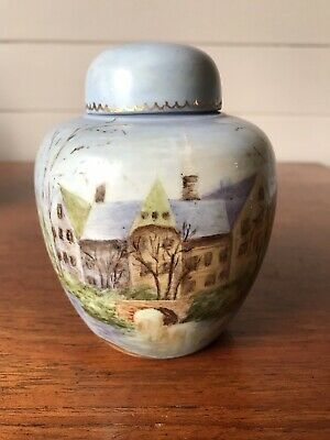 Vintage Hand Painted Ginger Jar Japanese Castle Signed By Artist Joyce Murchie