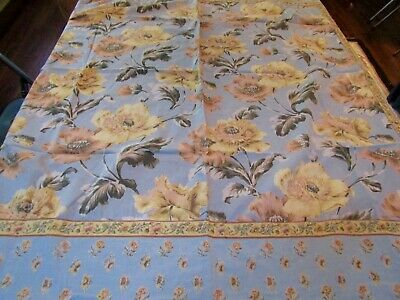 "Vintage Tablecloth 1999 April Cornell Yellow Floral on Blue 48"" x 48"""