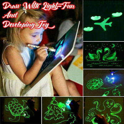 Magic Drawing Writing Board Kit Fluorescent Light Up Fun &Developing Kids Toy M