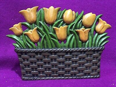 Cast Iron Door Stopper Basket of Yellow Tulip Flowers 6.5 in high 9.5 in long