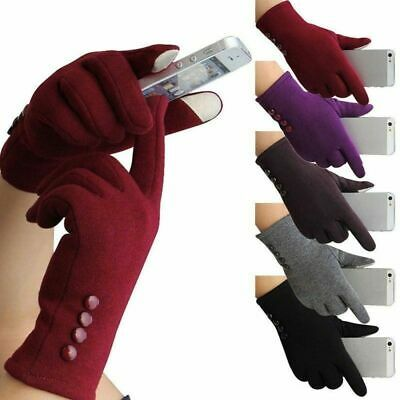 Winter Gloves Warm Thick Fleece Lined Thermal Button Touch Screen Women Lady SST