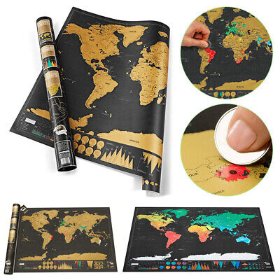 Nomal Scratch Off World Map Deluxe Edition Travel Log Journal Poster Wall Decor.