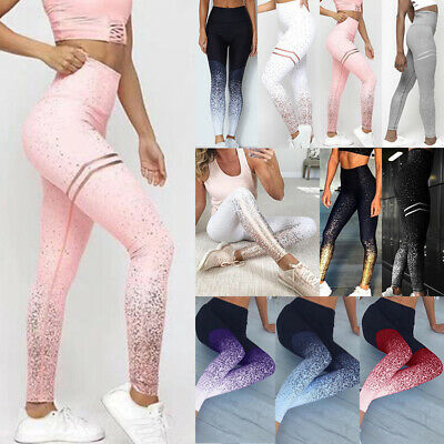 AU Womens Yoga Leggings Ombre Fitness Sports Gym Workout Jogging Pants Trousers
