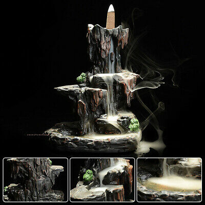Resin Mountain Waterfall Smoke Backflow Incense Burner Cones Holder With 7 Cones