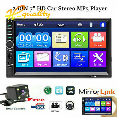 """Car Radio MP5 2 Din HD 7"""" Touch Screen Stereo Bluetooth USB With Camera 7010B"""