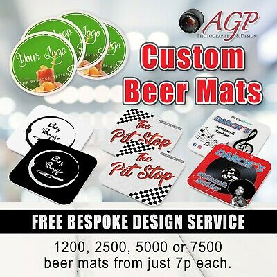 Bespoke Beer Mats / Coasters, Full Colour, 2 Sided, Design Included