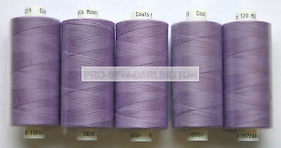 5 x REELS LILAC MOON POLYESTER SEWING THREADS COTTON 120s ( 219 )