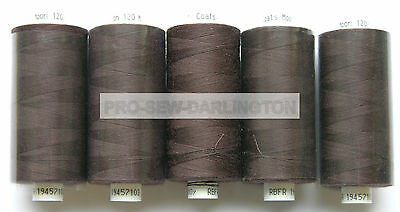 5 REELS DARK BROWN MOON POLYESTER SEWING THREAD COTTON 120s ( 037 )