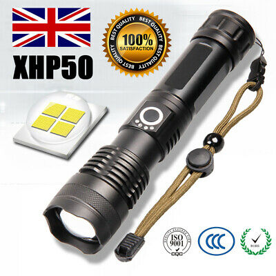 Rechargeable 900000Lumens XHP50 Zoom Flashlight High Power LED Torch Headlamp UK