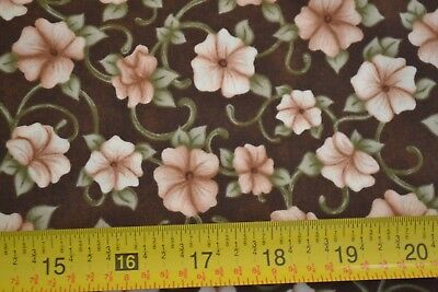 Olive on Brown Quilting Cotton By 1//2 Yd B996 P/&B//Abundance//00544-G