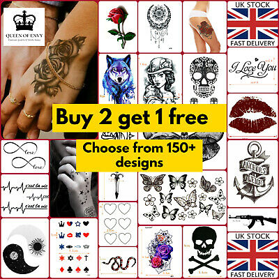 Temporary Tattoo Body Arm Leg Women Men Kids Fake Henna Transfer Party Stickers