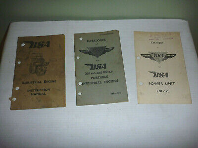 Vintage BSA Portable Industrial Engine Catalogue & Instruction Manuals