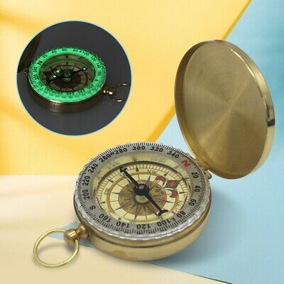 Outdoor Useful Retro Brass Compass With Lid-Old Vintage Nautical Pocket Necklace