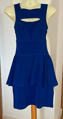 BNWT French Connection Electric Royal Blue Bodycon Peplum Tier Dress Size 8-10