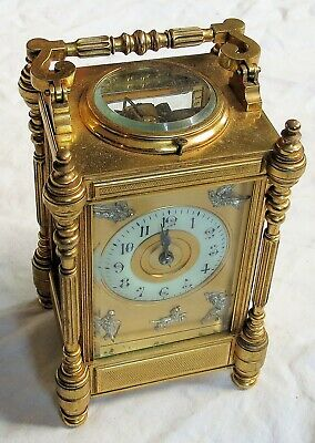 Beautiful Heavy Brass Repeater Carriage Clock Made In France Old Vtg Antique