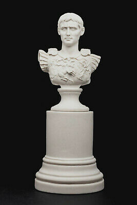 Marble Bust of Roman Emperor Augustas on a large base, Classical Sculpture. Art.