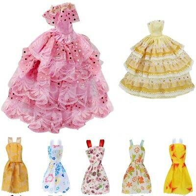 12Pcs Gown Dress Clothes Set For Barbie Dolls Wedding Party Prom Causal Decor US