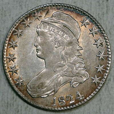 1824 Capped Bust Half Dollar, Almost Uncirculated w/ Color, Discounted  0103-10