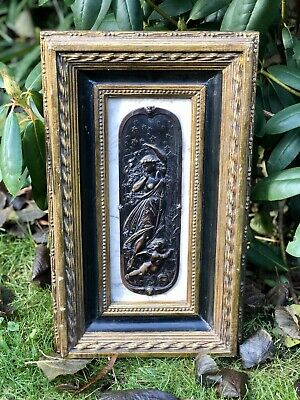Antique Art Nouveau Erotic Lady And Cherub Framed Bronze And Marble Wall Plaque