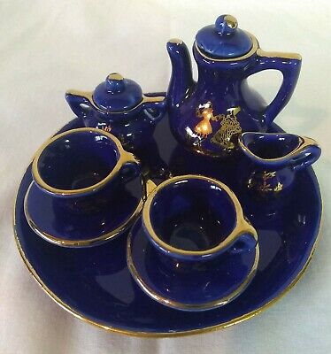 Vintage Miniature Tea set Colbalt Blue w/gold trim Courting Couple Taiwan 10 pc