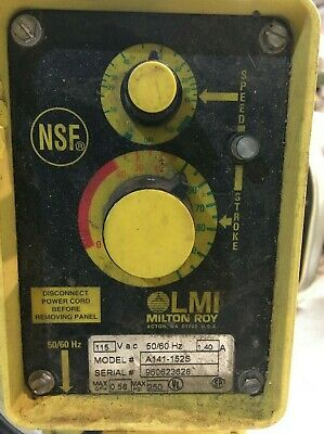 $ LMI Milton Roy Electromagnetic Dosing Pump Model AA141-152S Power On Tested