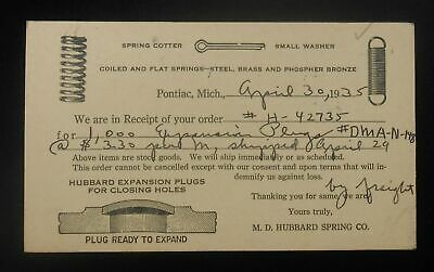 1935 Shipping Notice for Expansion Plugs M. D. Hubbard Spring Co. Pontiac MI PLC