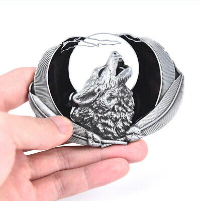 Western Wolf Moon Men's Alloy Leather Belt Buckle Vintage Cowboy Buckle  NBLTR