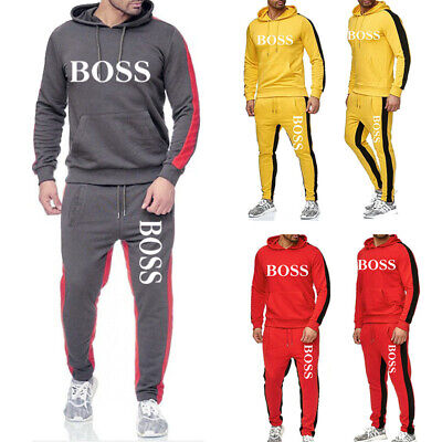 Men's Sweat Track Suit Two Pieces Mens Set  Jogging Tracksuit Hooded Sweatshirt