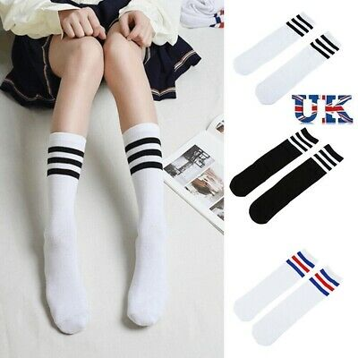 UK  Kids Girls Cute Fancy Stripe Design Sporty Knee High Socks  School Football