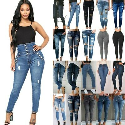 Womens Ripped High Waist Legging Bottoms Denim Jeans Jeggings Trousers Plus Size