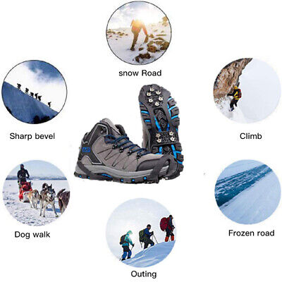 Anti-Slip Snow Ice Shoes Cover Grippers Spikes Grips Climbing Crampons HZ