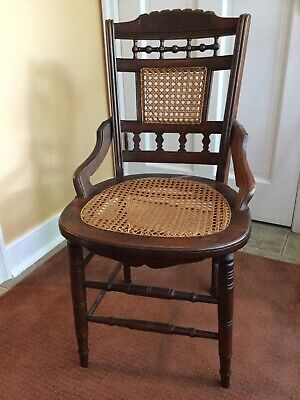 Antique Victorian-EASTLAKE Style-Cane Back & Cane Bottom-Hip Rest-Dining Chairs