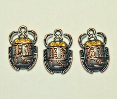 Pendant Charms Lot | Egyptian Scarab Beetles | Bronze Alloy Necklace, Bracelets