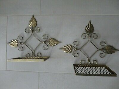 Pair Of Vtg Gold Wire Mesh Metal Wall Shelves Mid Century Modern Atomic Leaf