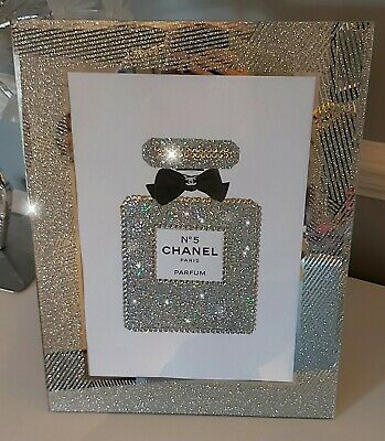 Chanel Perfume PRINT A4 print only NO FRAME with glitter and diamantes