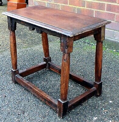 Early English antique country made reclaimed solid oak joint stool footstool