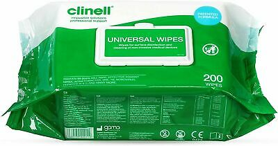 Clinell Wipes Universal Sanitising Wipes. 200 Wipes. New and Sealed.