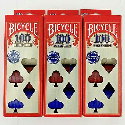 Lot of 3 Boxes Bicycle Poker Night Chips 100 Count per box Casino Colors 300..