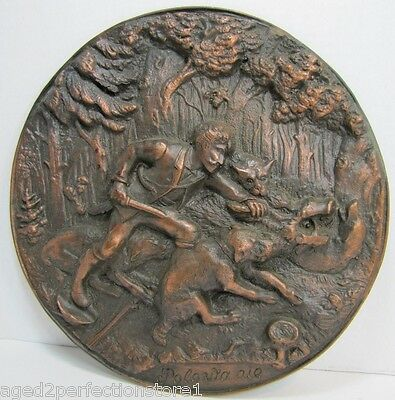 HUNT SCENE Plaque WILD BOAR HUNTER DOGS KNIFE 'POLOWANIE-The HUNT' High Relief
