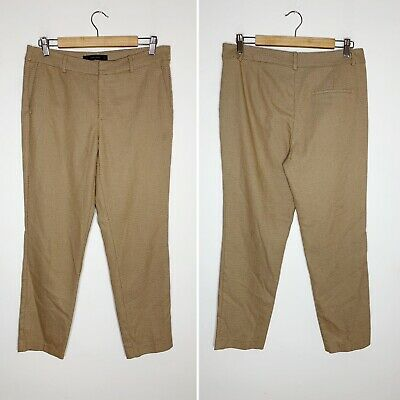 Zara Basic Tan Beige Cream Check Mid Rise Tapered Cropped Trouser Pants 8