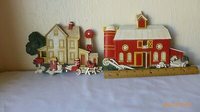 Vintage Homco Dart Farm Scene USA 1975 Country Barn House Set of 2 Collectible