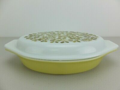 Vintage PYREX Verde Olive Green 063 Oval Divided Casserole Dish with Lid
