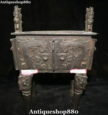 "10"" Curio Purple Bronze Ming Dynasty Dragon Beast Ding Pot Incense Burner Censer"