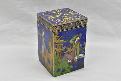 Antique Cloisonne Trinket Box China Bronze Gold Detail Chinese Japanese Signed