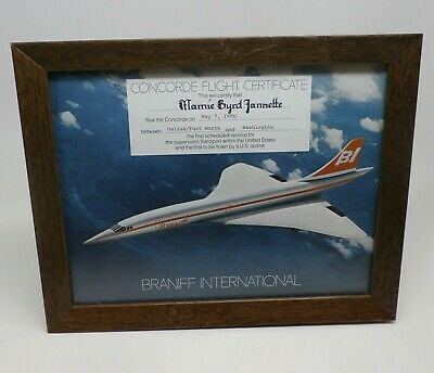 Rare 1980 Braniff International 1st USA Supersonic Concorde Flight Certificate