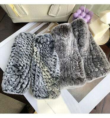 Womens Warm Real Rex Rabbit Fur Golves Knitted Stretch Fingerless Mitten Gloves
