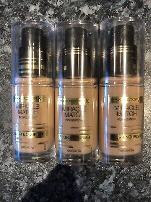 Max Factor Miracle Match Foundation Blur & Nourish Natural 50 3x30ml (Free P&P)