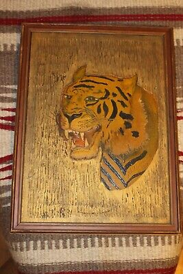 Antique Tiger 1912 Carved Wood Wall Art Panel  Signed